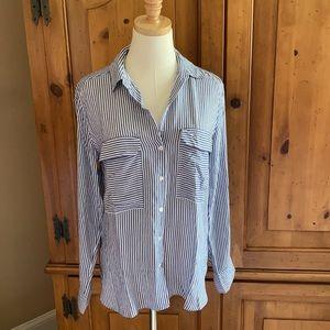 Zara blue and white striped button down shirt